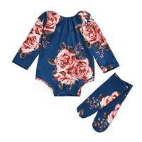 Новорожденный ребенок с длинным рукавом ползунка большой цветочный комбинезон девушка теплые носки наряд 0-24м детская одежда 1032 y2