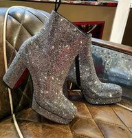 Italy Brands Winter Stage Strass Ankle Boots Red Bottom Booty Women Round Toe Booties Famous Chunky Heels Wedding Party Walking EU35-43.WITH BOX