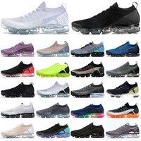 NikeAirVapormax1.0FlyknitVapourmaxVaporMax2.0  أحذية رجالي إمرأة الاحذية MOC Flynit 1 Fly Knit 2 Triple Black White رمادي وردي رياضي رياضية الرجال النساء المدربين