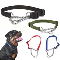 Dog Collars & Leashes Misterolina Nylon Collar With Welded Link Chain Pet Dogs Training Accessories Adjustable Size Necklace