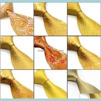 الاكسسوارات الأزياء الرقبة بالجملة الذهب الأصفر البرتقالي العلاقات الرجال ربطات العنق بيزلي الزهور الصلبة المشارب 100 الجزء السفلي الحرير الجاكار المنسوجة t