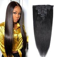 Silky Droit Brésilien Remy Coiffeurs de cheveux dans les cheveux Extensions 8-30inch 120g Tête pleine tête