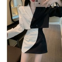 Two Piece Dress female Korean style contrasting fashion suit color short jacket + skinny hip bag skirt two garments spring RXWP