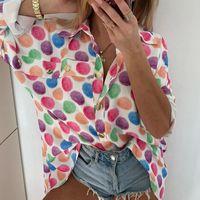 Women's Blouses & Shirts Long Sleeve Women Turn Down Collar Dot Polkat Print Casual Blouse Female Womens Clothing