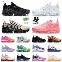 En Kaliteli 2021 Mens Bayan Vapurmax Artı TN Büyük Boy 13 Koşu Ayakkabıları Üçlü Siyah Bubblegum Işık Kemik TNS Eğitmenler Otantik Sneakers