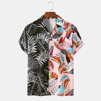 Fashion Colorblock Print Shirt Men Hawaiian Short Sleeve Summer Mens Casual Beach Mannen Oversized Shirts Homme Men's