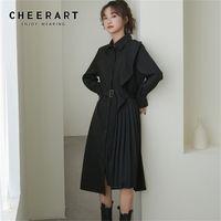 CHEERART Ruffle Long Sleeve Pleated Shirt Dress Women Black Button Up Ladies Collar Dress With Belt Desinger Fashion Clothing 210508