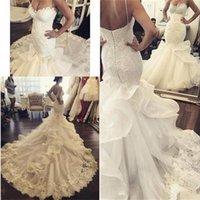 Vintage Lace Sweetheart Mermaid Trumpet Wedding Dresses Custom Size Sweep Train Backless Bridal Gowns Elegant Vestido de Fiesta
