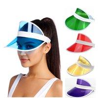 PVC الشمس القبعات الصيف للجنسين الأطفال في الهواء الطلق شفافة فارغة أعلى قبعات الأشعة فوق البنفسجية قناع شمس غطاء أزياء خارج حزب قبعة T9I001266