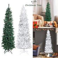 الولايات المتحدة الأسهم الاصطناعي عطلة عيد الميلاد شجرة رائع فو الصنوبر عيد الميلاد شجرة البلاستيكية 6.5ft الأبيض / الأخضر (لا يمكن شحن إلى صندوق البريد)