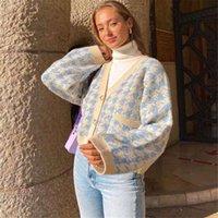 Wolfa Plaid Imprimer Cardigan Cardigan Femmes Autumn V Cou Casual Vintage Vintage Culture Tricoté Pull Top Sweat lâche Couverture d'hiver Vestes de femmes