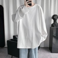 Men's T-Shirts HYBSKR 2021Spring T-Shirt Solid Color Basic T Shirt Round Neck Long Sleeve Tshirts Korean Couple Women Man Casual Tees