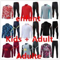 2122 Mens och Kids Kit Soccer TrackSuit Jersey Chandal Futbol Fotboll Jerseys Training Pants Jacka Maillot de Retro Player Version Tracksuits