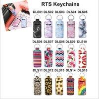 Print Marble Color Neoprene Chapstick Holder Handy Lip Balm Keychains Neoprene Lipstick Holder Keychain Pouch JJA109