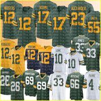 "12 Aaron Rodgers Jones 17 Davante Adams Jersey Green ""Bay"" Packers ""Jaire Alexander Football Jerseys Liebe Zadarius Smith David Bakhtiari Eric Stokes Savage 4"