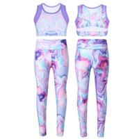 Verano colorido colorido niñas ropa deportiva elástico sin mangas tie-tinte top cintura elástica yoga ejecutar gimnasio entrenamiento de entrenamiento sets