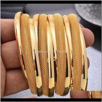 Bangle Bracelets Jewelry4Pcs Lot Dubai Gold Color For Women Vintage Bride Wedding Bangles Africa Arab Jewelry Drop Delivery 2021 1Okqu