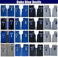 Mens Duke Mavi Şeytanlar Koleji Basketbol Forması # 1 Zion Williamson Cam Reddish RJ Barrett # 0 Jayson Tatum Kyrie Irving Ev Dikişli Formalar Gömlek S-XXL