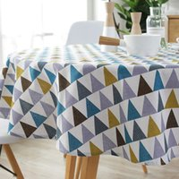 100/120/150 cm Toalha de mesa redonda Europa estilo algodão linho tabela triângulo triângulo impressão geométrica mesa de jantar pano customizável DBC BH3259
