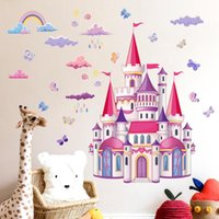 Wall Stickers DIY Colorful Rainbow Clouds Fairy Tale Princess Castle For Baby Girl's Kids Room Decoration Home Decor