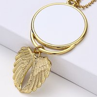 Sublimation Big Wings Necklaces Pendants Sublimation Blanks Car Pendant Angel Wing Rearview Mirror Decoration Hanging Charm Ornaments 10 H1
