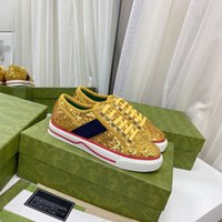 Moda Erkek Kadın Tasarımcı Rahat ACE Ayakkabı Glitter Düşük Perçin Arı Sneakers ile En Kaliteli Boyutu 35-46 Satılık Lady Ayakkabı