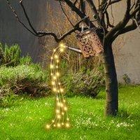 Solar Lamps LED Powered Shower Watering Can String Lamp Garden Art Metal Iron Waterproof Water Sprinkler Kettle Light Home Decr