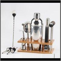 Инструменты Bartender Kit 14 Шт. Инструмент бар Стильный бамбук Стенд идеальный дом Бармея и Martini Cocktail Shaker Set 750 мл QBMOE KDA93