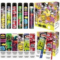 몬스터 듀얼 일회용 전자 담배 포드 장치 2in1 스위치 6.0ml 사전 충전 된 vape 펜 스틱 증기 바 만화 인쇄 ezzy 1000 + 1000puff air max bang xxl lux