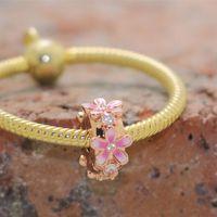 Аутентичные Стерлингового серебра 925 розовый розовый разумный клип Clip Bear Bear подходит для европейских ювелирных изделий в стиле Pandora