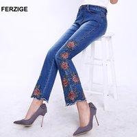 Moda Mujeres Jeans con bordado Diseño Floral Flare Pantalones Bell Bottoms Boot Cut Slim Business Woman Sexy Señoras 36 Mujeres