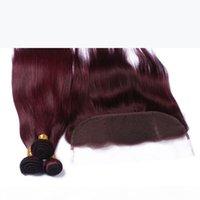 Wein-rotes menschliches Haar-Bundle-Angebote mit Frontal-Verschluss gerade # 99J Burgund 13x4 Ohr-Ohr-Spitze-Frontalverschluss mit reinem Haar 3bundles