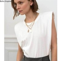 Super Chic Padded Shoulder Women T Shirts Muscle In White Cotton High 100% Fashoin Summer Tee Tops