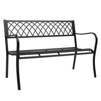 WACO 47in Patio Garden Bench Park Yard Outdoor Furniture, Iron Metal Frame,Sturdy Durable Construction, Scrollwork Design, Easy Assembly