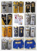 "Mens Indiana ""Pacers"" Jersey Retour Reggie 31 Miller Victor 4 Oladipo Basketball Shorts Basketball Jersey Noir Jaune Blanc Blanc Blanc"