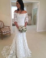 2021 Bohemian Mermaid Wedding Dresses Half Sleeve Sheer Garden Full Lace Country Plus Size Bridal Gown Train Church Bride Dress Custom