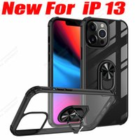 transparent acrylic mobile phone cases case For iPhone 13 12 11 xr xs max 6 7 8 Plus magnetic vehicle holder shockproof fall-proof cover