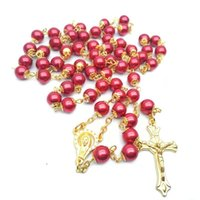 Pendant Necklaces 8MM Religious Jewelry Women Unisex Jesus Christ Gift White Pearl Virgin Mary Catholic Cross Rosary Necklace