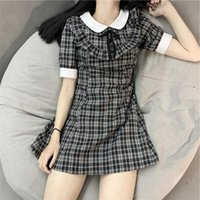 Casual Dresses Women Preppy Style Plaid Mini In Black Color Check Print Bow Dress College Japanese Mori Girl Clothing