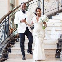 Gorgeous Crystal Mermaid Wedding Dresses See Through Sleeve Bridal Gown V Neck Beading Africa Vestidos De Novia 2021