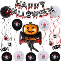 Cadılar bayramı partisi balon alüminyum filmi suit hayalet kabak düzeni sahne dekorasyon