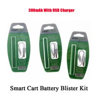 Smart Cart Battery Kit 380mAh Green Color Adjustable Voltage 2.0V-4.0V With Whit USB Charger In The Blister Kit Fits All 510 Thick Oil Atomizers