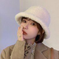 Wide Brim Hats YQYXCY Bucket Hat Women Winter Cashmere Fisherman Cap Korean Thick Warm Vintage Bob Gorro Round Top