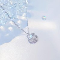 Pendant Necklaces Prevent Allergy Fashion Crystal Moon Opal Round Charm Necklace For Women Choker Collares Wedding Party Jewelry