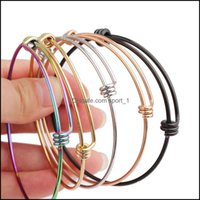 Jewelrystainless الصلب الأسلاك الإسورة أساور 55 ملليمتر 60 ملليمتر 65 ملليمتر diy مجوهرات قابل للتعديل سحر قابلة للتوسيع سوار 5 ألوان انخفاض التسليم 2021 7MP