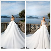 Milla Nova Illusion Long Slleeves Encaje Una línea Vestidos de novia Tulle Applique Capilla de satén Tren Vestidos nupciales con botones
