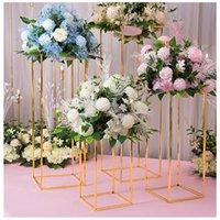 Festa decoração Flone Casamento Centralpiece Gold-Banhado Geométrico Flower Stand Home Brilhante Metal Ferro Retângulo Quadrado Quadrado Cenário