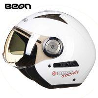 Beon 3/4 이중 바이저 레이싱 헬멧 오토바이 절반 헬멧 남자 여자 모터 바이크 모토 카스코 빈티지 레트로 바이커 스쿠터 헬멧 Q0630