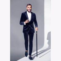 Последние пальто Данды дизайна Темно-синий бархатный мужской костюм формальный тонкий подходящий смокинг 2 шт.