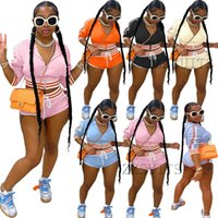Womens fashion Tracksuits set stitching striped hooded long sleeve zipper jacket cropped top sexy mini shorts 2 two piece sports suit casual jogging Summer clothes